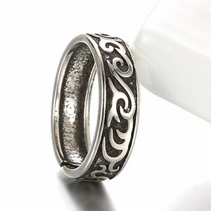Thai Vintage Silver Flame Swirl Open Ring